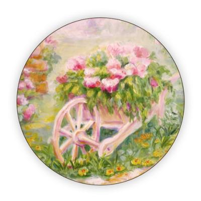 Костер (подставка под кружку) Тележка с цветами