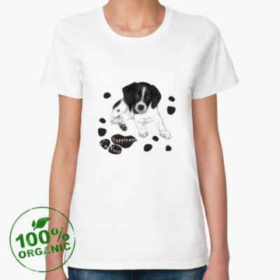 Женская футболка из органик-хлопка Милый пёсик 'Я твоё счастье'