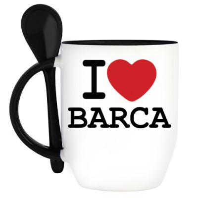 Кружка с ложкой I Love Barca