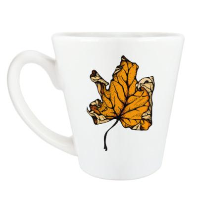 Чашка Латте Желтый лист кленовый