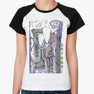 Женская футболка реглан   (бел/чёрн)