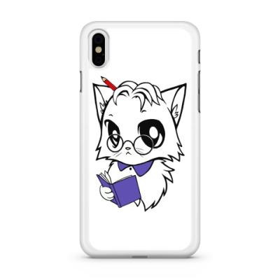 Чехол для iPhone Белый кот ботаник