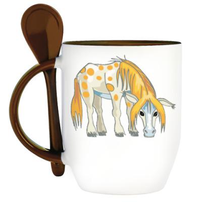 Кружка с ложкой Лошадь