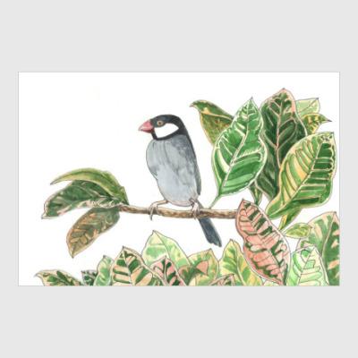Постер Птичка в цветах