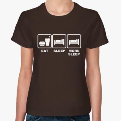 Женская футболка Есть и спать