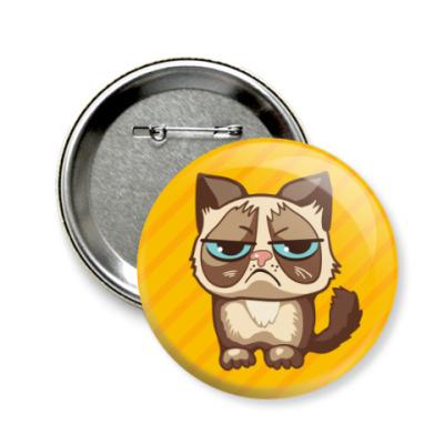 Значок 58мм Угрюмый кот Тард - Grumpy Cat
