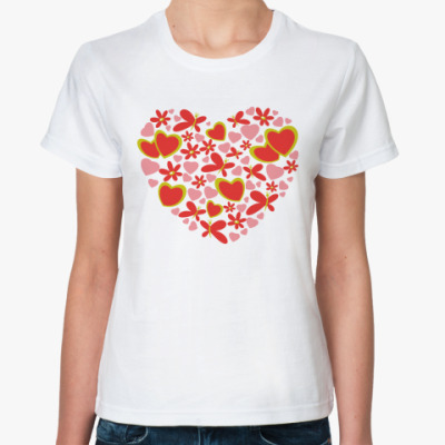 Классическая футболка  LOVE HEART