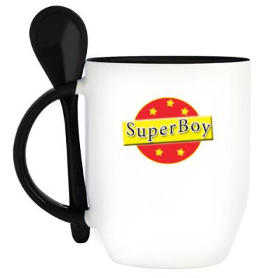 Кружка с ложкой SuperBoy