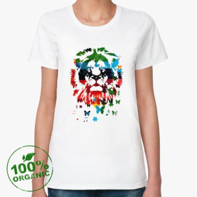 Женская футболка из органик-хлопка Лев и... бабочки