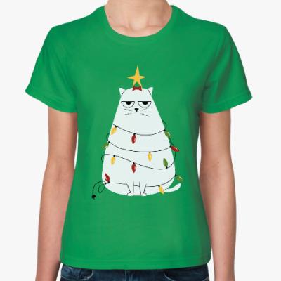Женская футболка Кот и ёлка