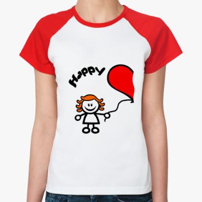 Женская футболка реглан 'Счастливы вместе'