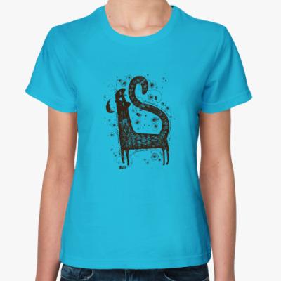 Женская футболка кошка и ночь