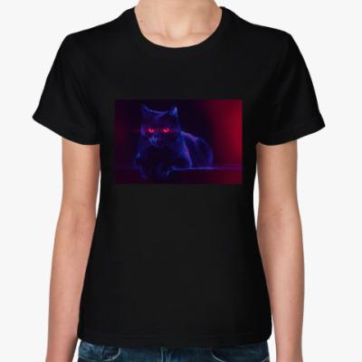Женская футболка Шикарный черный кот