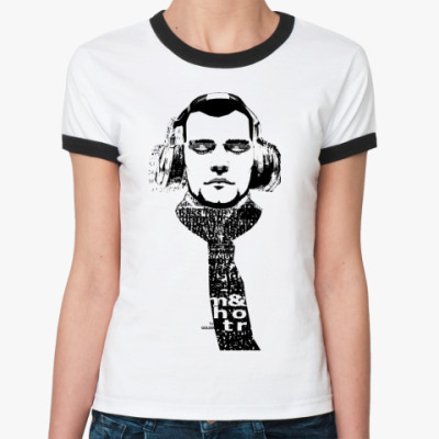 Женская футболка Ringer-T musik inside head