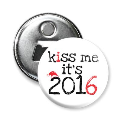 Магнит-открывашка Kiss me - it's 2016!