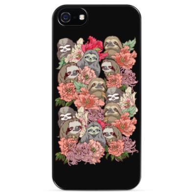 Чехол для iPhone Ленивцы в цветах