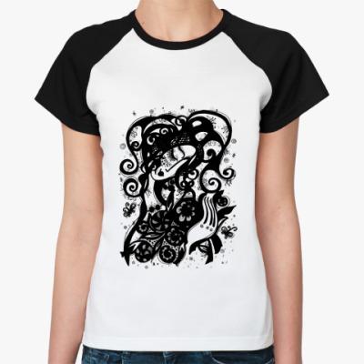 Женская футболка реглан Букет