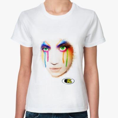 Классическая футболка Девушка с цветными слезами