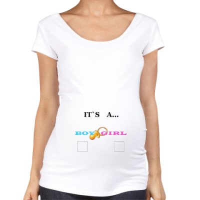Футболка для беременных Gender reveal party, baby, boy