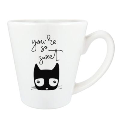 Чашка Латте Чёрный кот, которому везёт