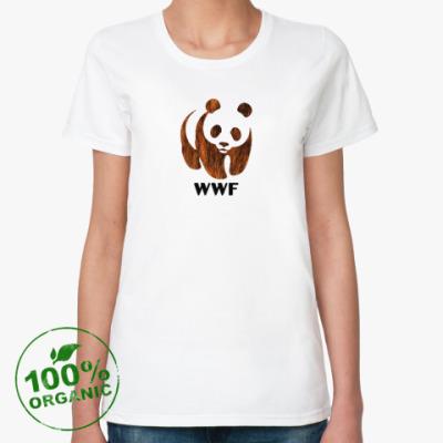 Женская футболка из органик-хлопка WWF. Панда. Бурый мишка.