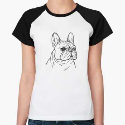 Женская футболка реглан бульдог