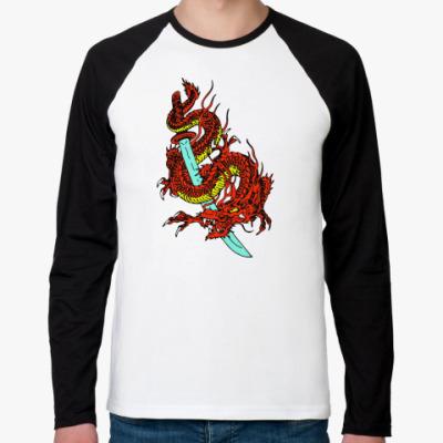 Футболка реглан с длинным рукавом Дракон и катана