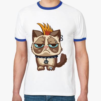 Футболка Ringer-T Кот Тард (Grumpy Cat) неформал