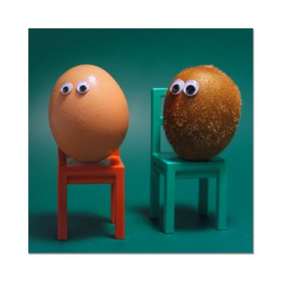 Наклейка (стикер) Киви и яйцо