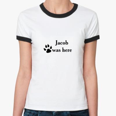 Женская футболка Ringer-T   (бел/чёрн)