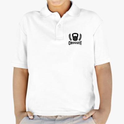 Детская рубашка поло Кроссфит логотип с гирей
