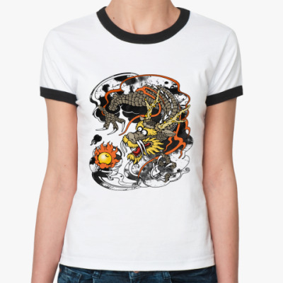 Женская футболка Ringer-T Дракон с жемчужиной