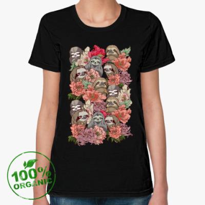 Женская футболка из органик-хлопка Ленивцы в цветах