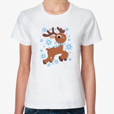 Классическая футболка Олени. Рождество. Новый год.