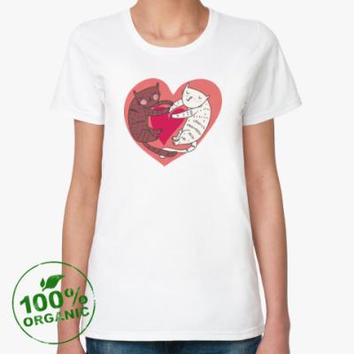 Женская футболка из органик-хлопка 'Сердечные котики'
