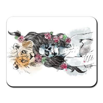 Коврик для мыши Девушка-Лев-Череп