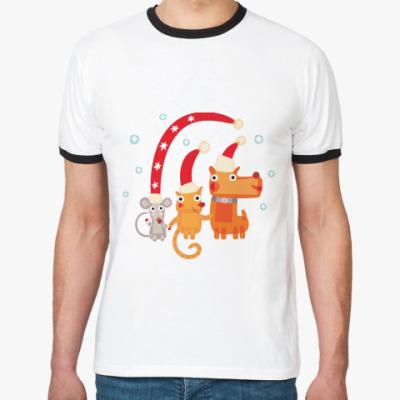 Футболка Ringer-T Крыса, кот и собака