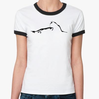 Женская футболка Ringer-T Силуэт кошки