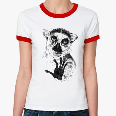 Женская футболка Ringer-T Узбагойся!