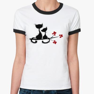 Женская футболка Ringer-T Любовь и кошки