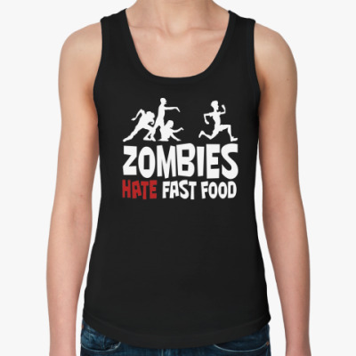 Женская майка Zombies hate fast food