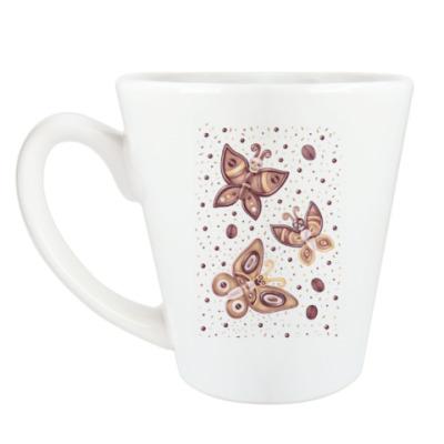 Чашка Латте бабочки -черепушки