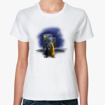 Классическая футболка кошачья любовь