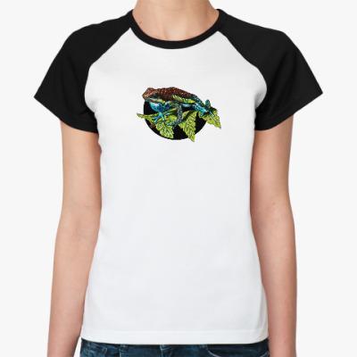 Женская футболка реглан ядовитая лягушка