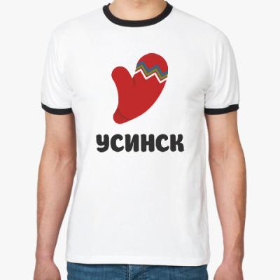 Футболка Ringer-T логотип города Усинск