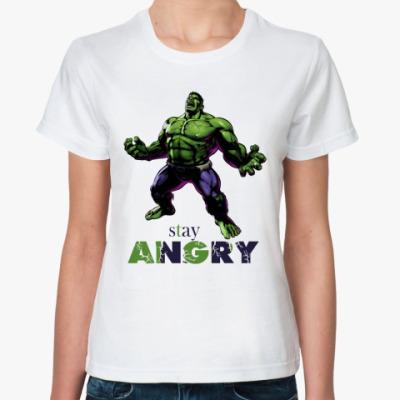 Классическая футболка HULK stay angry MARVEL