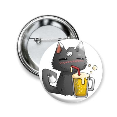 Значок 50мм Пьющий кот