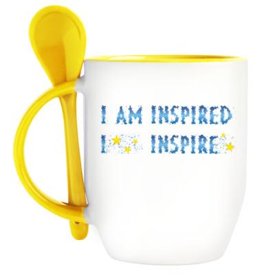 Кружка с ложкой I am inspired & I inspire