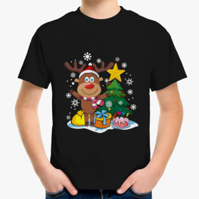 Детская футболка Олень Рождество Новый год