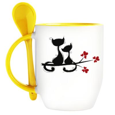 Кружка с ложкой Любовь и кошки